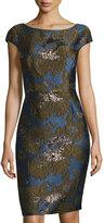Vera Wang Cap-Sleeve Brocade Sheath Dress, Blue/Black