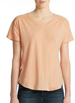 Lord & Taylor Shirred V Neck Tee