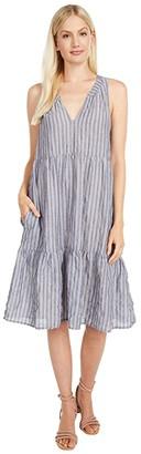 Dylan by True Grit Clean Crisp Classic Stripe Dress (Blue/Red) Women's Clothing