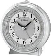 Seiko Silver Tone Metallic Case Bedside Alarm Clock Qhe132slh