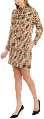 Burberry Vintage Check Tie-Neck Silk Shift Dress