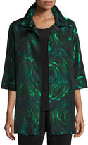 Caroline Rose Night Blooms Jacquard Party Jacket, Emerald/Black, Plus Size