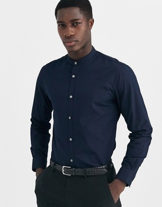 French Connection plain poplin grandad collar slim fit shirt-Navy