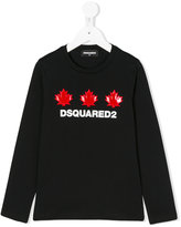 DSQUARED2 logo leaves patches T-shirt - kids - Cotton - 6 yrs