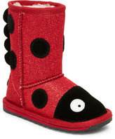 Emu Kids Girls) Red & Black Lady Bird Sparkle Pull-On Boots