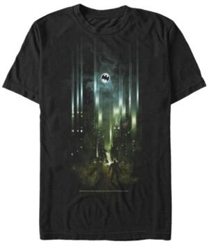 Fifth Sun Dc Men's Batman City Bat Logo Spotlight Short Sleeve T-Shirt
