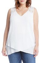 Karen Kane Plus Size Women's Lace Yoke Crossover Top