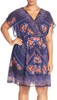 Sangria Plus Size Women's Print Blouson Dress