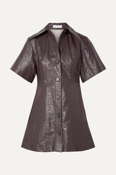 Beaufille Piper Croc-effect Coated-linen Mini Dress - Plum