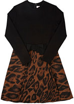 Lanvin STRETCH-JERSEY & LEOPARD-PATTERN JACQUARD DRESS
