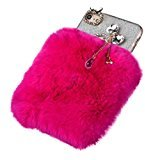 For iPhone 7 Case, HP95(TM) Women Girls Plush Wool Bling Case Soft Back Cover Skin For iphone 7 4.7 inch (Red)