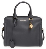 Alexander McQueen 'Small Padlock' Calfskin Leather Satchel - Black
