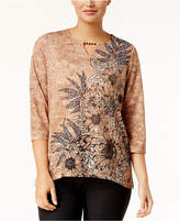 Alfred Dunner Petite Floral-Print Keyhole Top