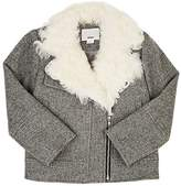 DINUI Shearling-Trimmed Wool-Blend Moto Jacket