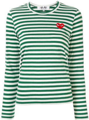 Comme des Garcons striped logo-patch T-shirt