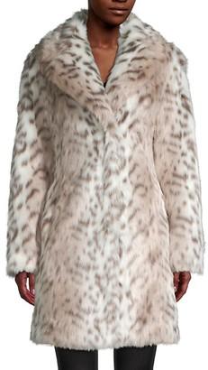Karl Lagerfeld Paris Snow Leopard-Print Faux Fur Coat