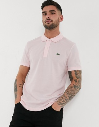 Lacoste slim fit pique polo in pink