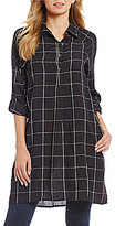Bobeau Windowpane 3/4 Rolled Raglan Sleeve Shirtdress