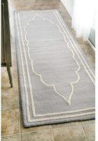 nuLoom Handmade Abstract Fancy Border Wool Grey Runner Rug (2'6 x 8')