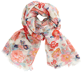 John Lewis Rose Blossom Print Scarf, White/Multi