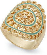 INC International Concepts Gold-Tone Pavé Mint Green Enamel Ring, Created for Macy's