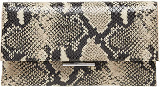 Loeffler Randall Tab Snake-Print Leather Clutch Bag