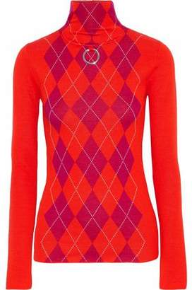 Stella McCartney Ring-embellished Argyle Wool Turtleneck Sweater