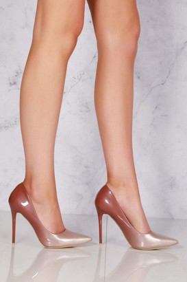 Miss Diva Jemma Two Tone Pointed Court Shoe In Nude Patent