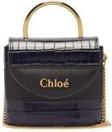 Chloé Aby Lock Crocodile-effect Leather Cross-body Bag - Womens - Navy