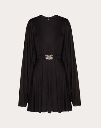 Valentino Fluid Jersey Dress With Griffins Women Black Viscose 100% 36