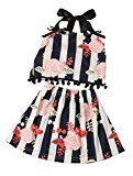 Kid Baby Girls 2PCS Set ,Fheaven Grils Stripe Floral Tassel Ball Top Shirt with Bowknot +Skirt Clothes (12M)