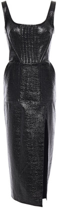 David Koma Coated Cotton-blend Boucle Midi Dress