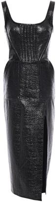 David Koma Coated Cotton-blend Tweed Midi Dress