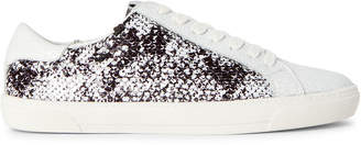 DKNY Black & White Andi Sequin Low-Top Sneakers