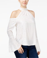 XOXO Juniors' Metallic-Print Cold-Shoulder Top