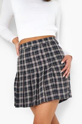 boohoo Check Woven Pleated Mini Tennis Skirt