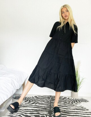 Monki Ronja organic cotton midi shirt dress in black