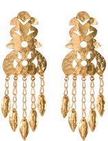 Natori Hammered Gold Crown Earrings