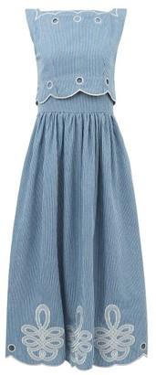 Innika Choo Fonda Laif Striped Organic-cotton Midi Dress - Blue Stripe