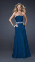 La Femme Strapless Long Gown with Embellished Waist 17505