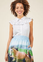 MCT1333 From downtown to the docks, this white blouse has everyone abuzz! Its classic collar and thin blue stripes lay a classic foundation for the vintage-inspired ruffle and lovely lightweight feel of this ModCloth namesake label piece, inviting attention - and