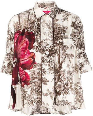 F.R.S For Restless Sleepers Silk Floral-Printed Blouse