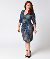 Kiyonna Plus Size Blue Peacock Print Quarter Sleeve Ciara Cinch Wrap Dress