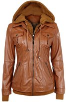 NiSeng Women's Faux Leather Zip Up Moto Jacket with Removable Hoodie S