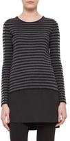 Akris Punto Silk Hem Tricolor Stripe Wool Tunic