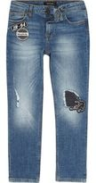 River Island Boys mid Blue wash badge slim fit jeans
