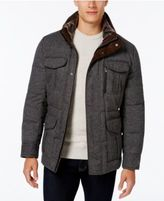 MICHAEL Michael Kors Men's Big and Tall Tweed Stand Collar Coat with Faux Fur Trim