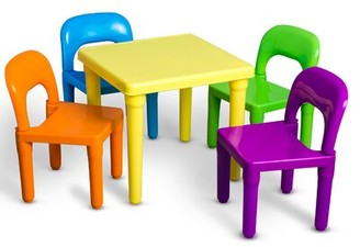 Harriet Bee Borges Plastic Kids 5 Piece Table and Chairs Set
