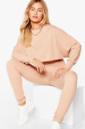 Nasty Gal Womens Let Rib Be Cropped jumper and Leggings Set - Black - S/M