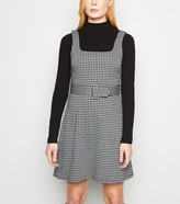 New Look Dogtooth Belted Pinafore Dress